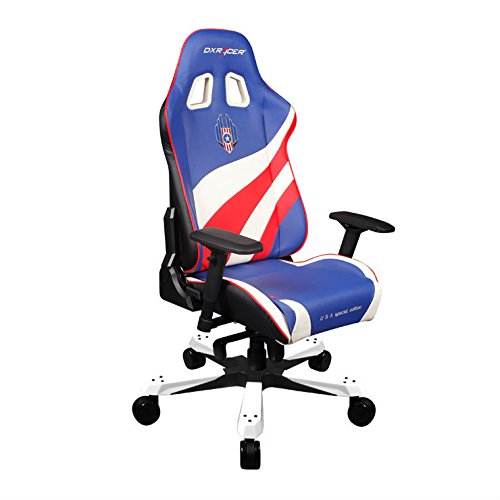 Dxracer Racing Bucket Seat Office Chair X Large USA Special Editions  KF74/BWR Blue White Red Pc Gaming Chair Computer Chair Executive Chair  Ergonomic Desk ...