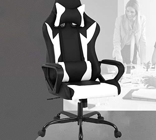 racing office chair high back pu leather gaming chair reclining computer desk chair ergonomic. Black Bedroom Furniture Sets. Home Design Ideas