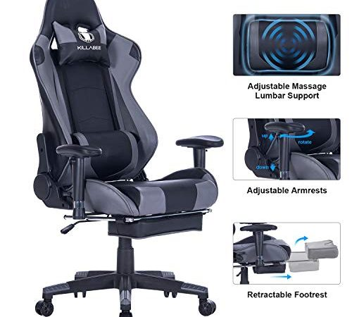 killabee big and tall 350lb massage memory foam gaming chair adjustable massage lumbar cushion. Black Bedroom Furniture Sets. Home Design Ideas